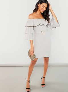 Layered Ruffle Trim Adjustable Belted Slit Dress