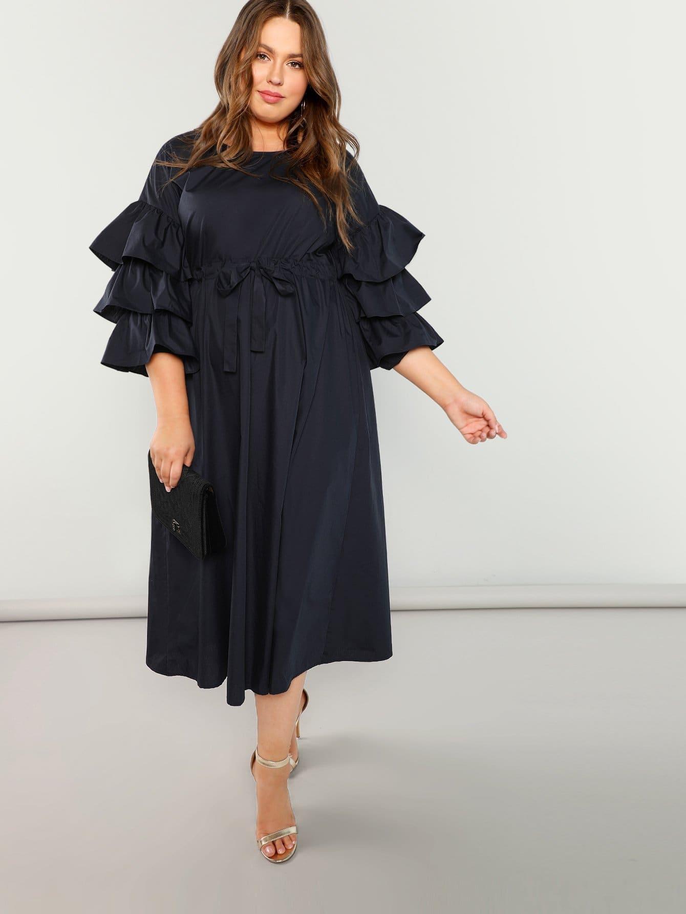 Купить Плюс размеры платье слоистых воланом рукава с веревкой, Bailey Carr, SheIn