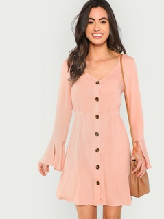 Slit Bell Sleeve Button Through Dress