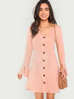Split Bell Cuff Button Front Dress