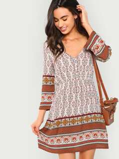 Button Front Ornate Print Dress