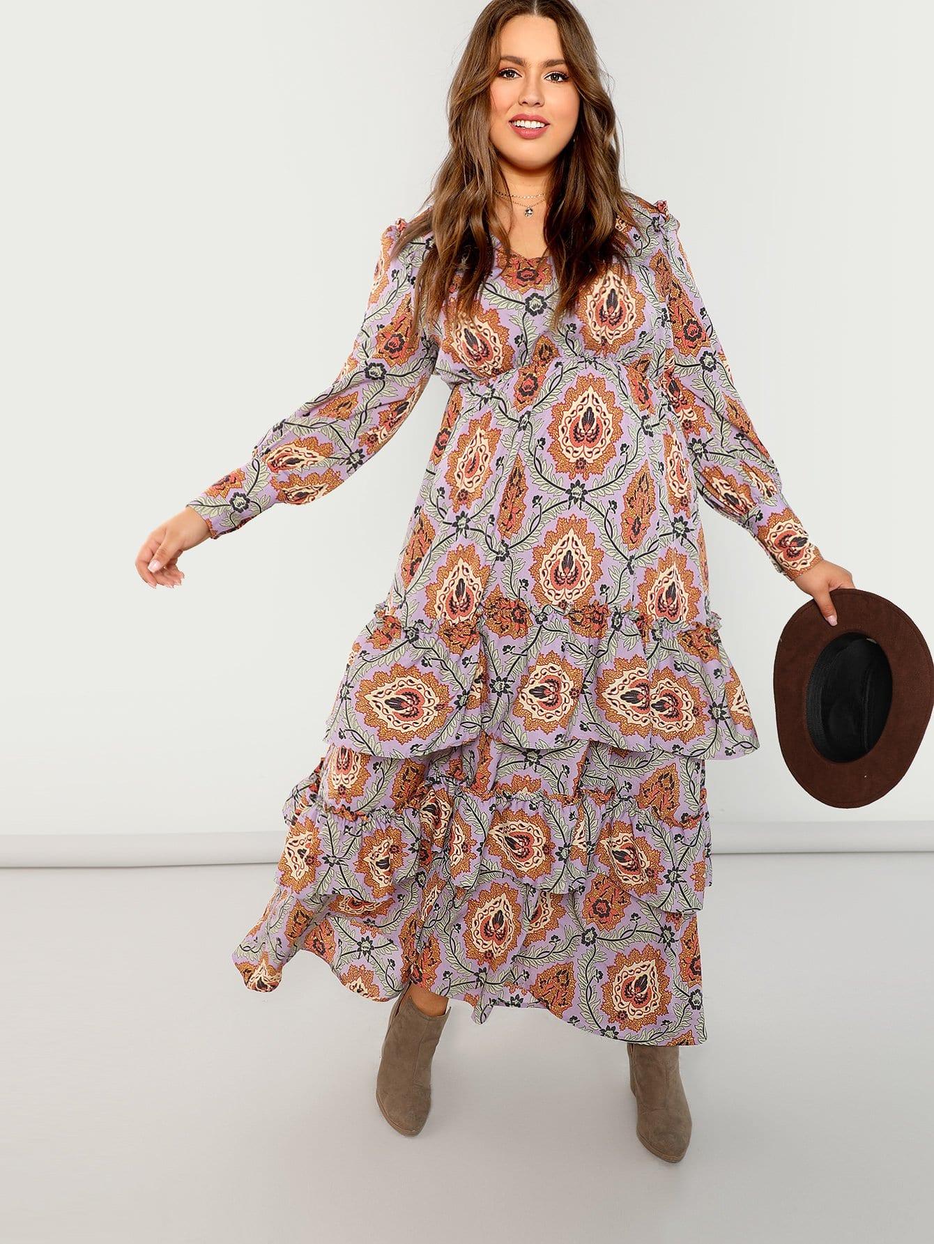 Плюс Allover ботанический печати Frilled платье