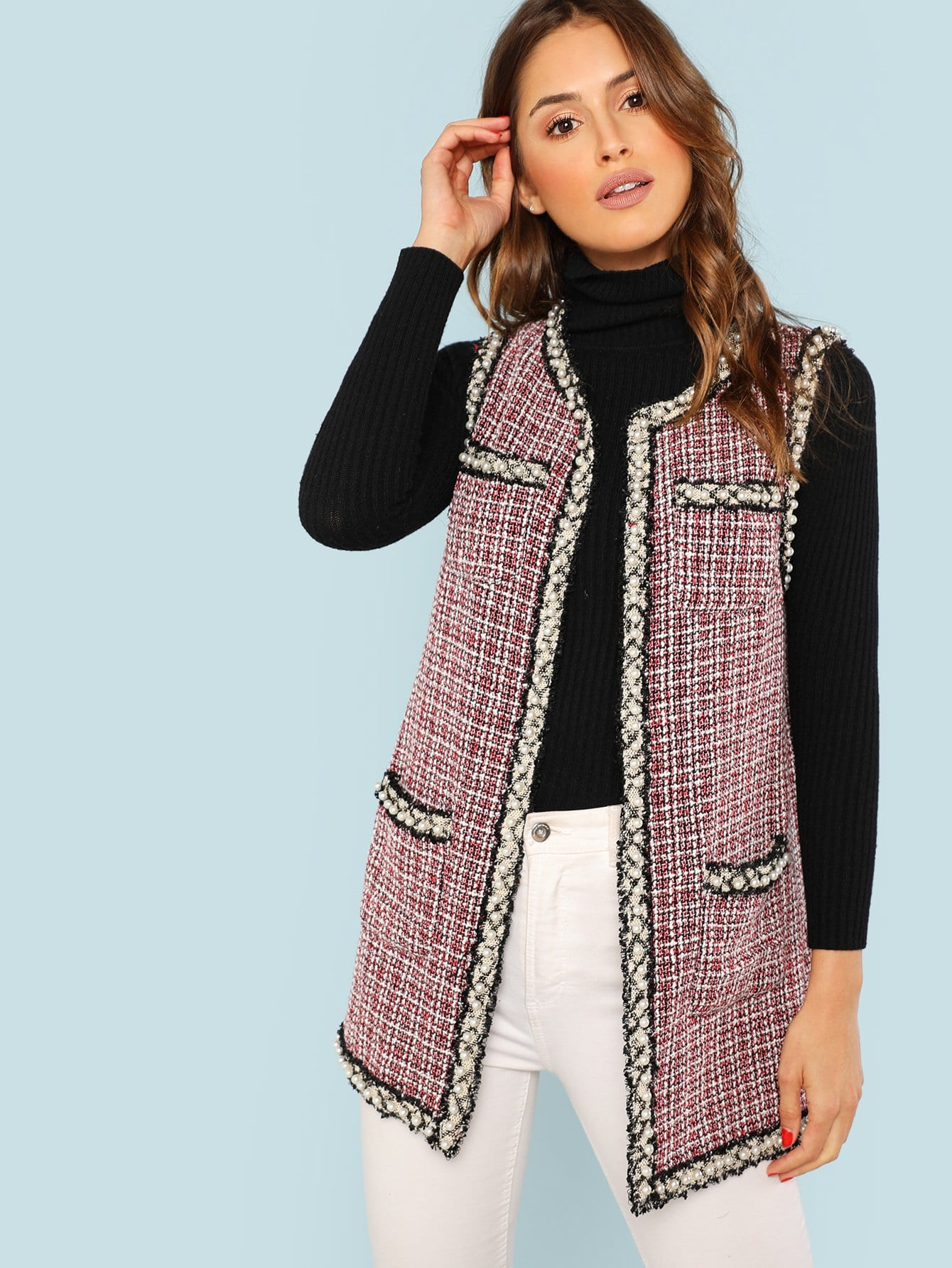 Купить Открытое пальто из грубого сукна, Noelle Brown, SheIn