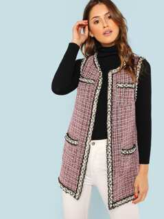Open Front Tweed Vest Coat