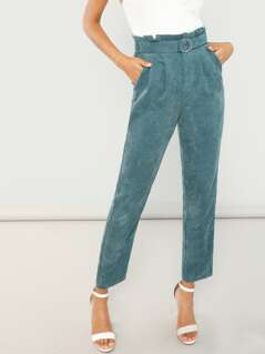 O-Ring Belted Corduroy Pants