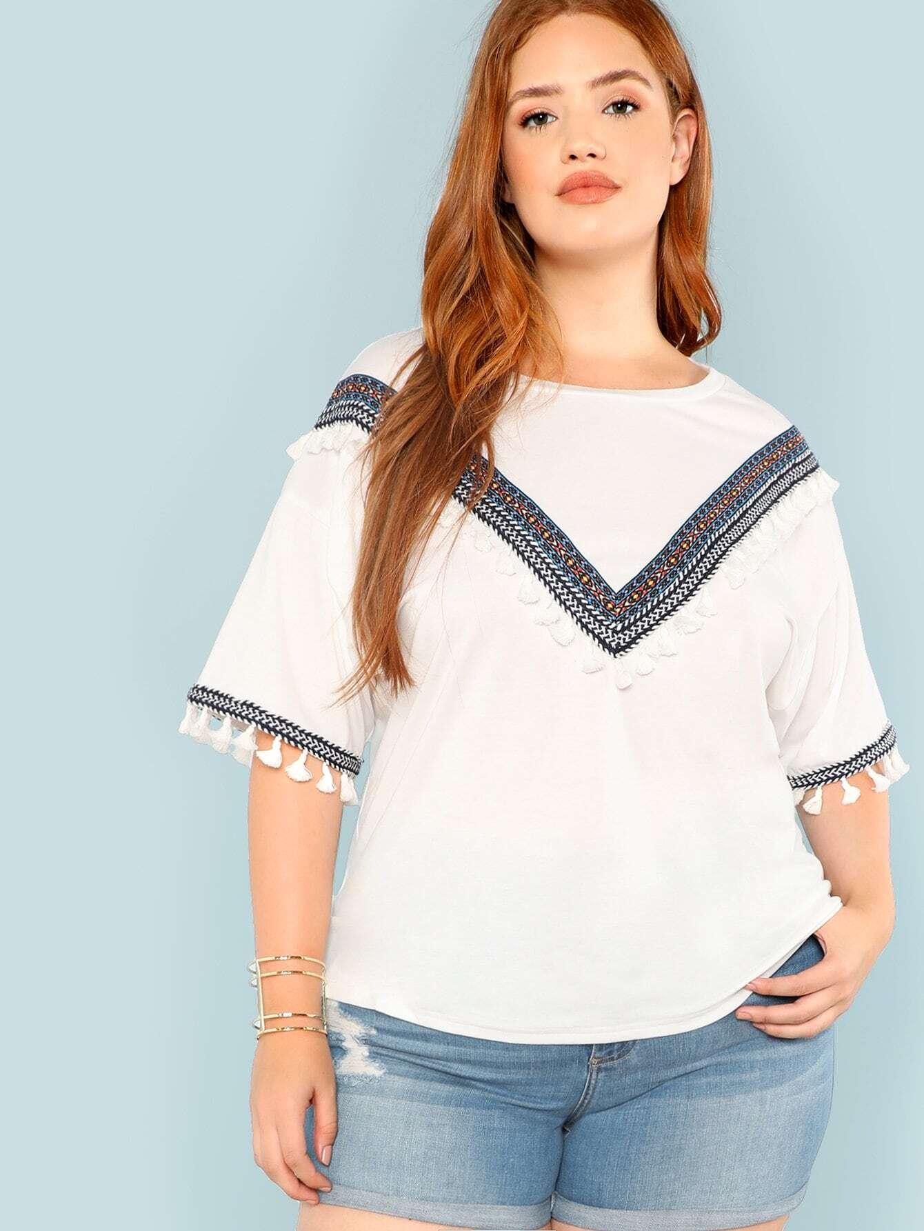 Купить Большая полосатая футболка и отверстие рукава с кистью, Bree Kish, SheIn