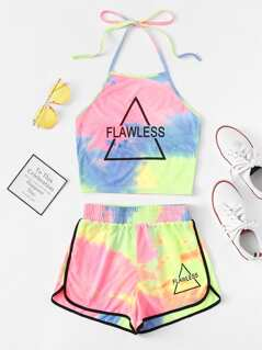 Letter Print Tie Dye Halter Neck Top & Shorts Co-Ord
