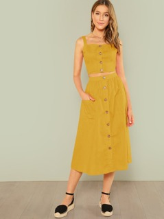 Button Up Crop Cami Top & Flare Skirt Set