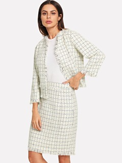 Raw Hem Plaid Bolero Top & Skirt Set