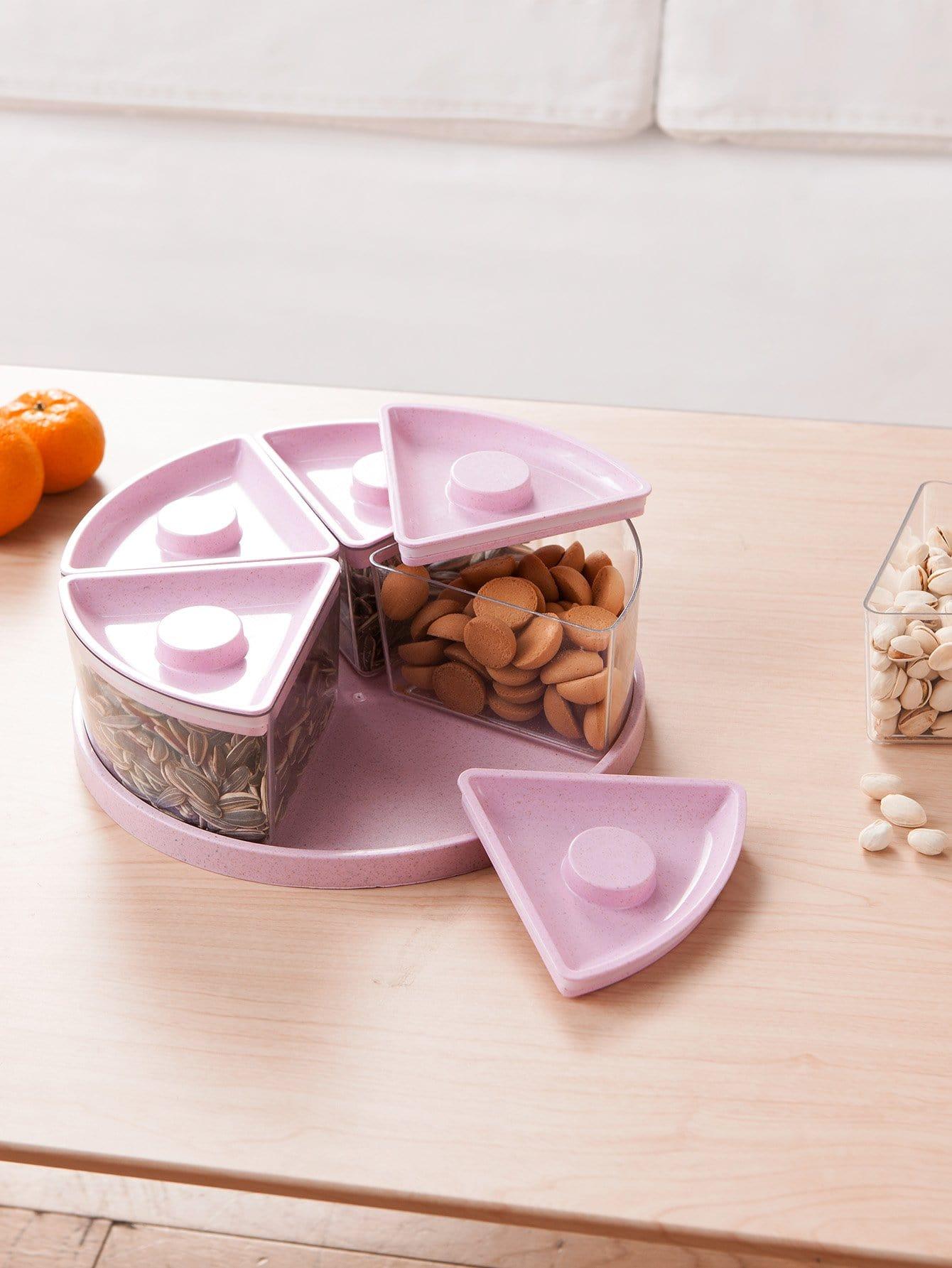 5 Fächer Snack Tablett mit Abdeckungen