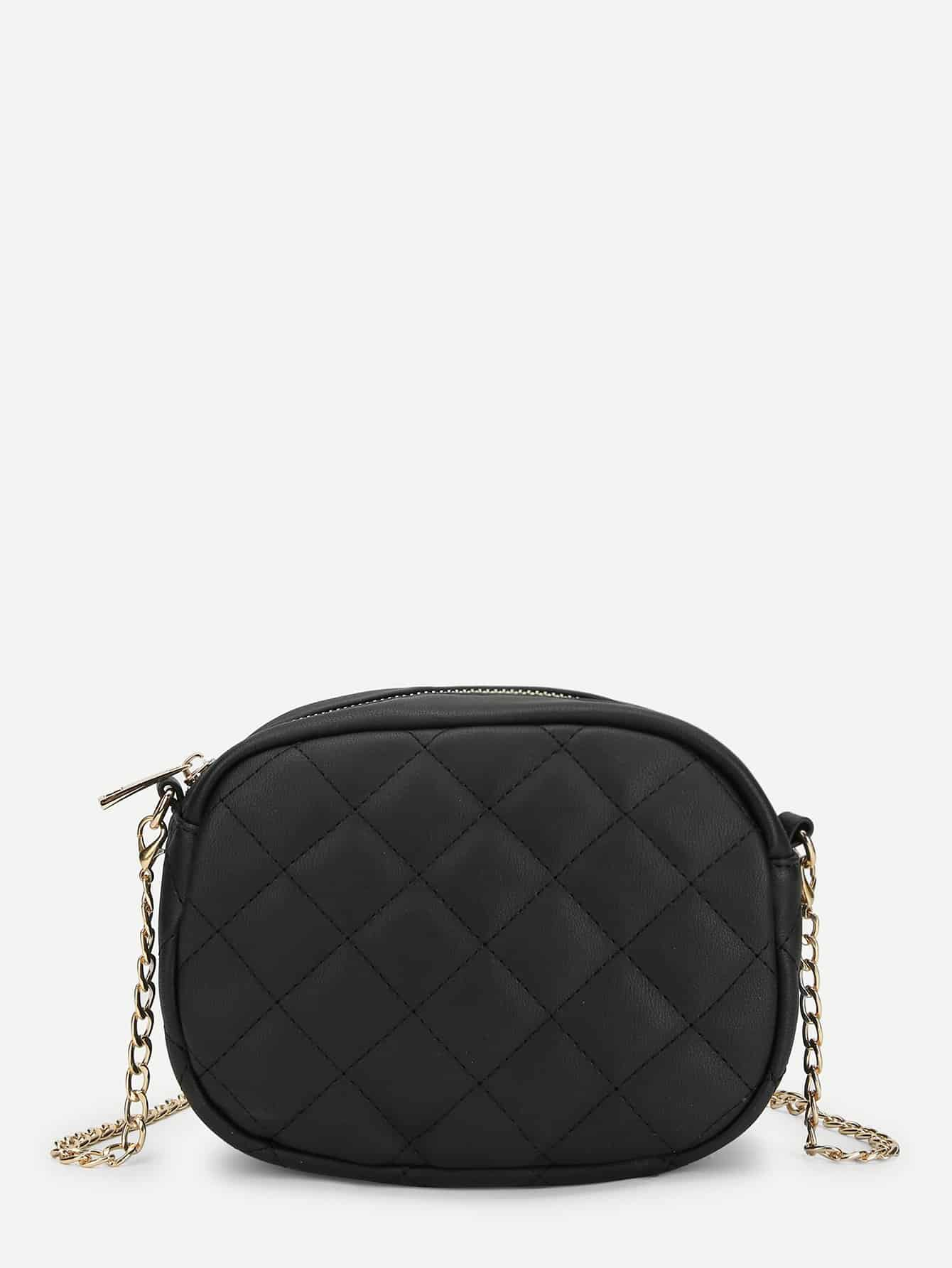 Quilted Crossbody Chain Bag dark green velvet twistlock closure quilted chain bag