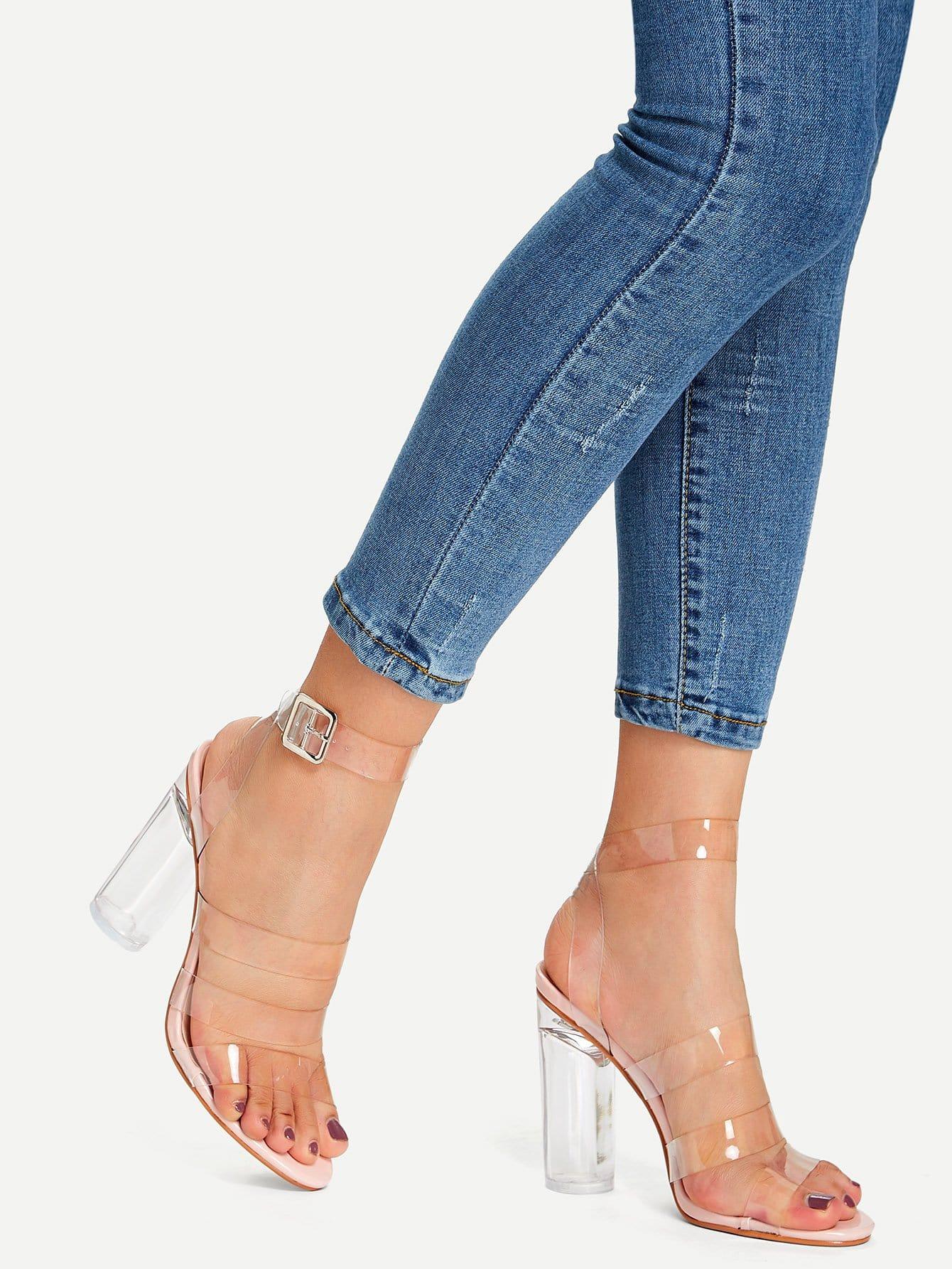 Купить Прозрачные дизайн ремешок высокий каблук, null, SheIn