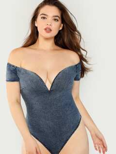 Denim Off The Shoulder Bodysuit