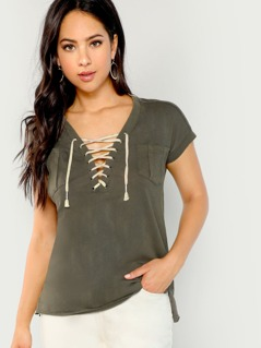 Lace Up Front Jersey Tee