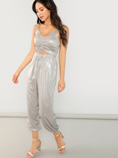 Sleeveless Jumpsuit with Shirred Bodice And Waist Cutout