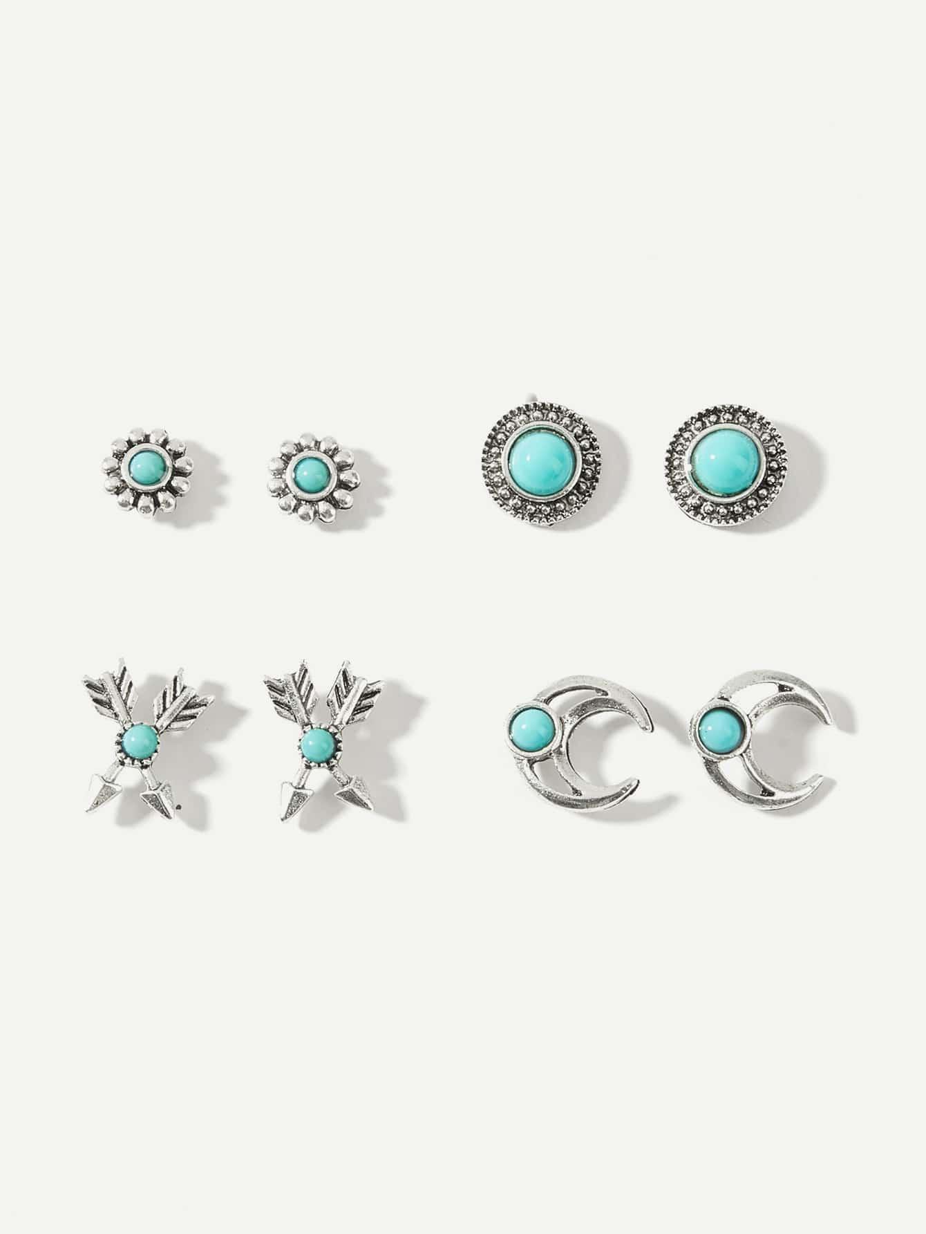Arrow & Moon Stud Earrings 4pairs