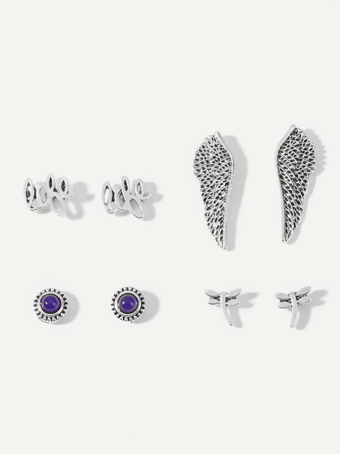 Wing & Leaf Stud Earrings 4pairs