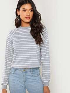 Crop Striped Sweatshirt