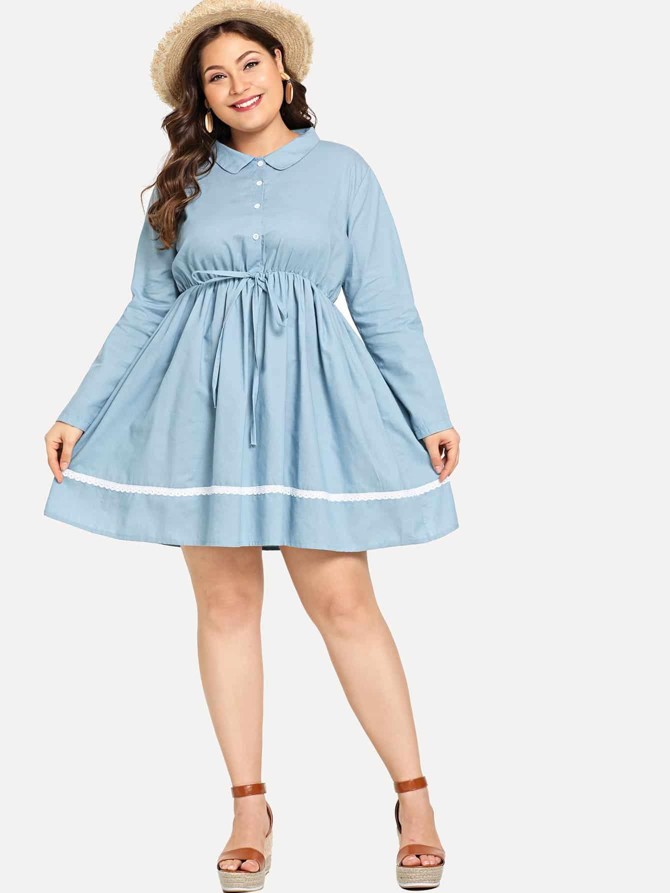 Plus Tie Waist Contrast Lace Dress