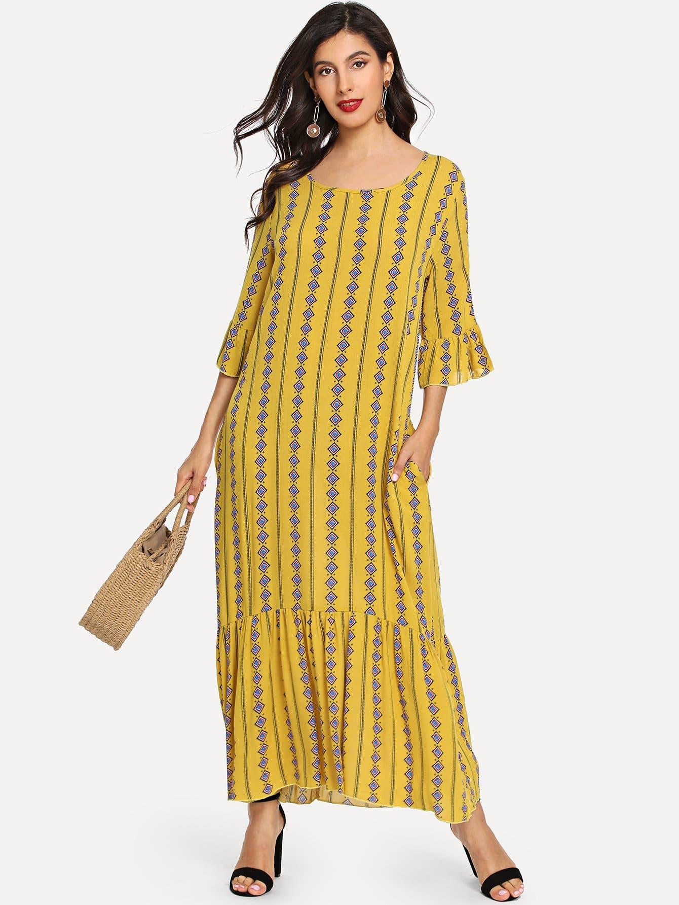 Купить Длинное платье с рисунками геометрических фигур, Jeane, SheIn