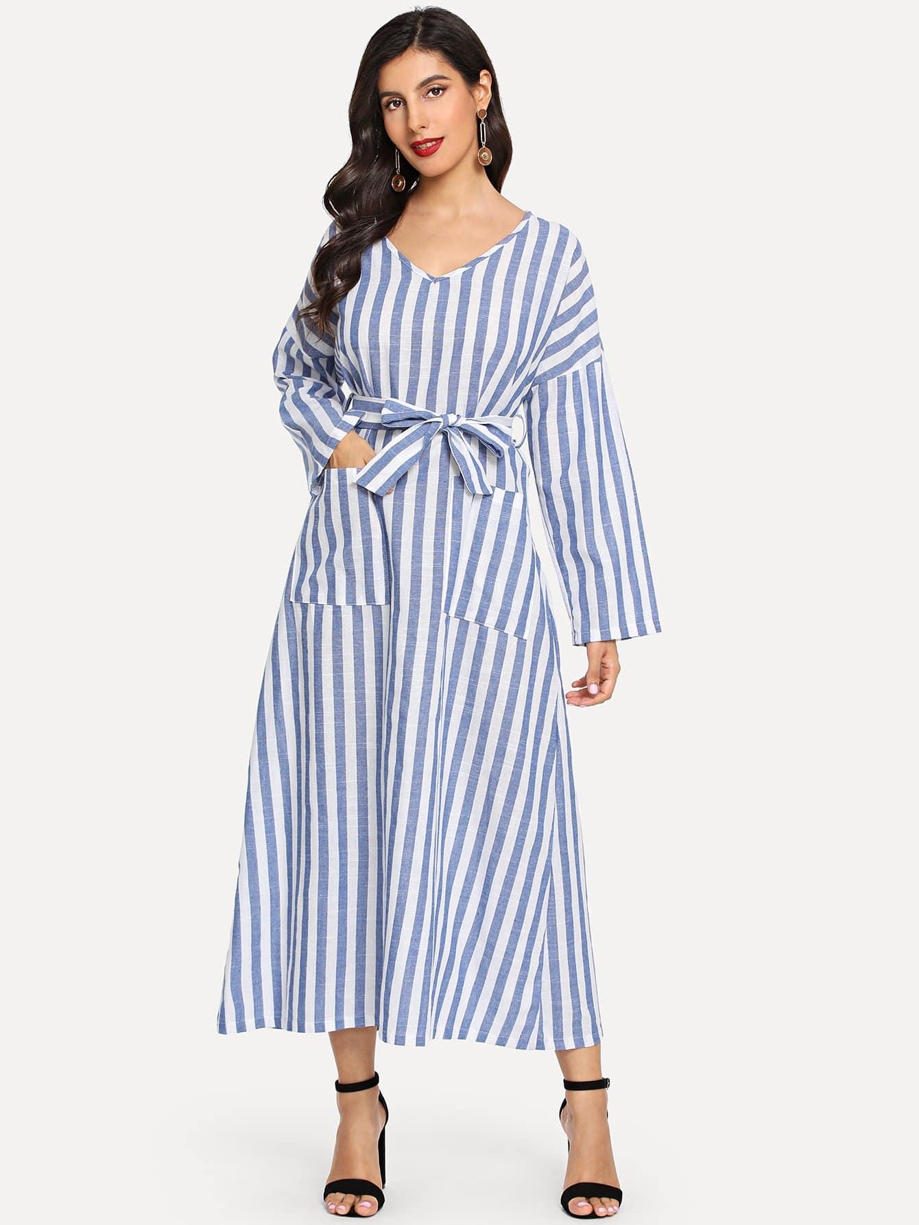 Купить Полосатое платье с поясом и с карманами, Jeane, SheIn