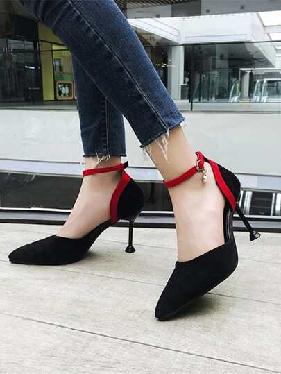 Romwe / Ankle Strap Pointed Toe Heels