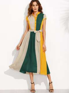Half Placket Belted Color Block Dress