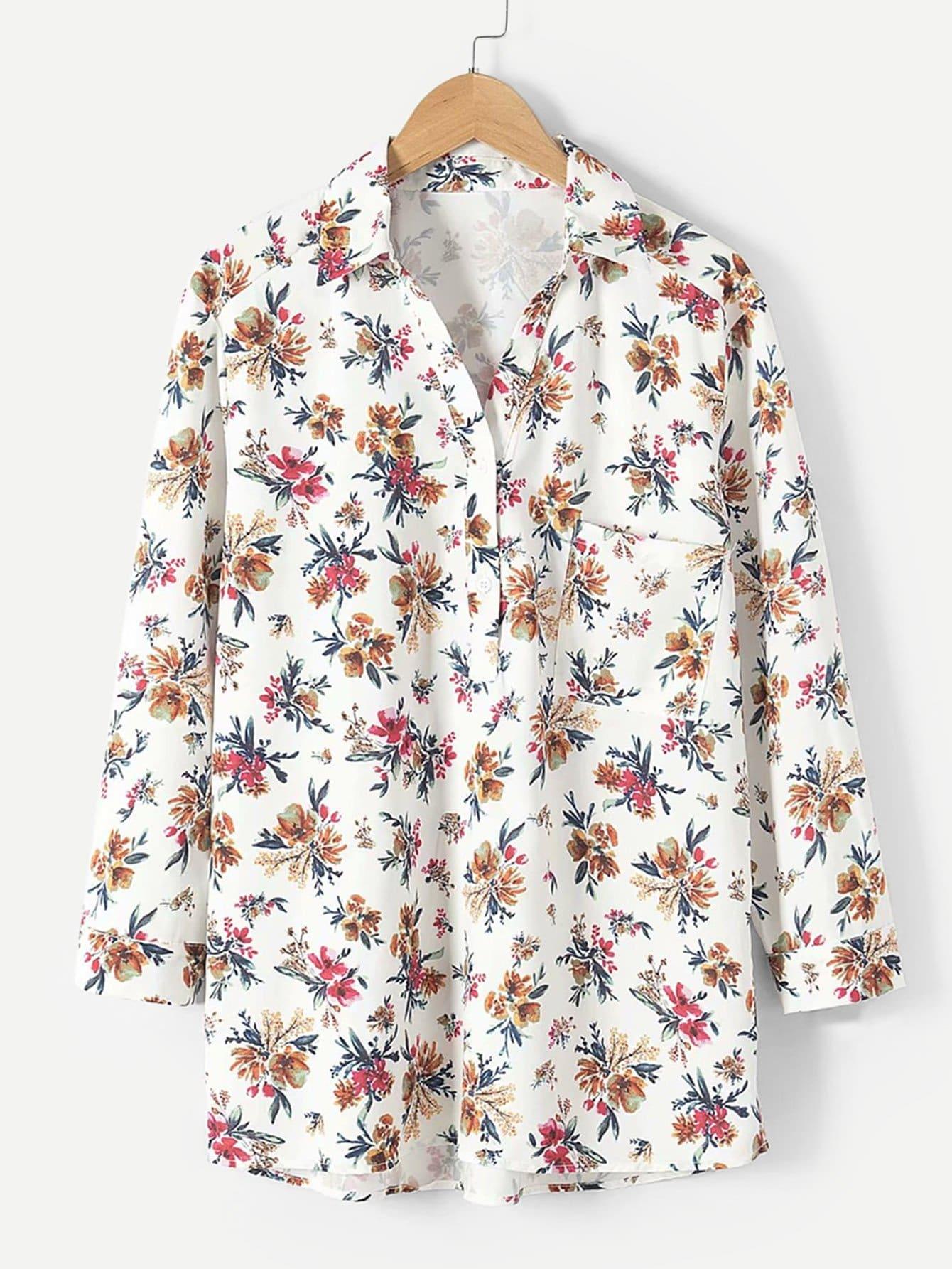 Купить Общая ситцевая рубашка, null, SheIn