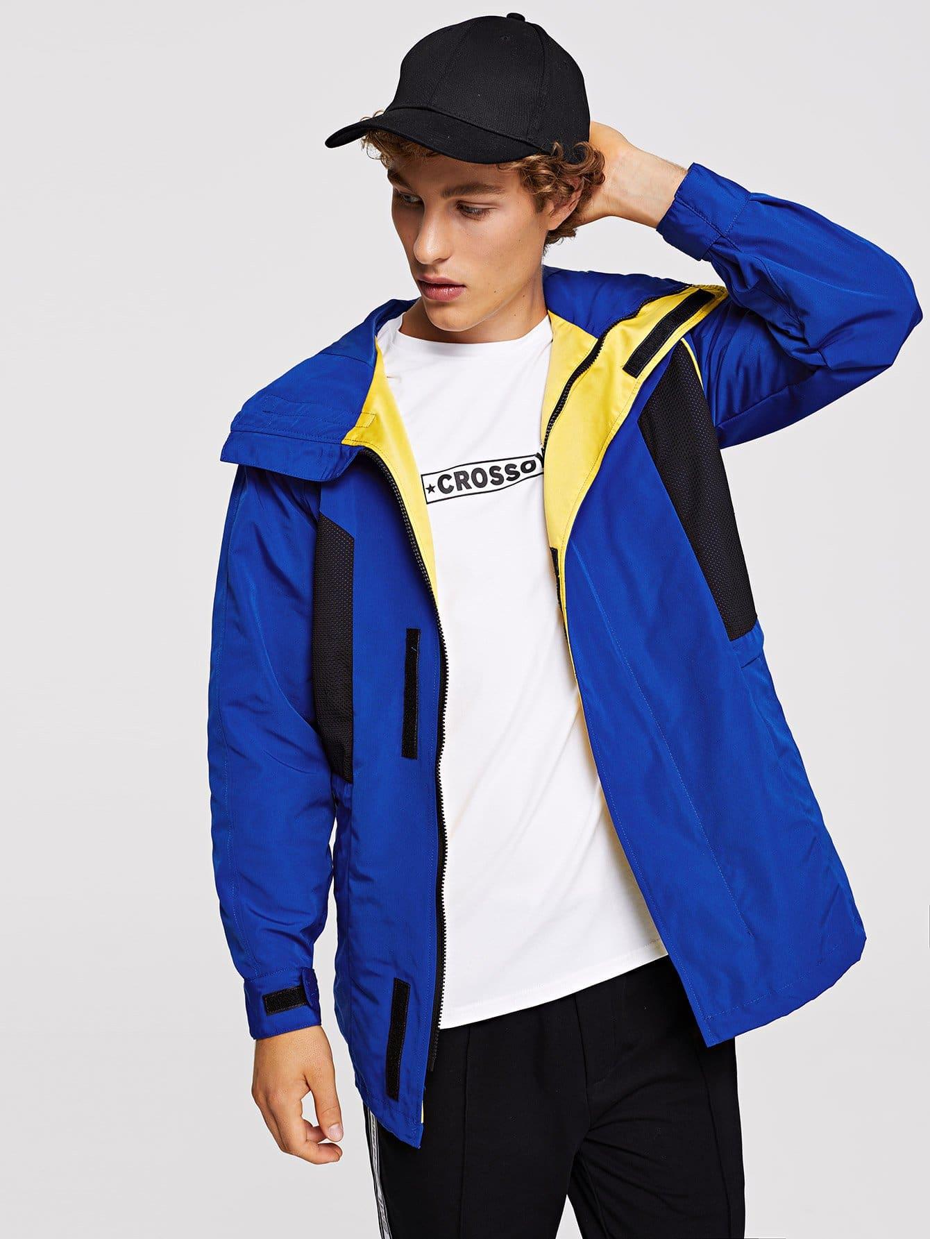 Купить Для мужчин контрастная ветровка с капюшоном, Kristian, SheIn