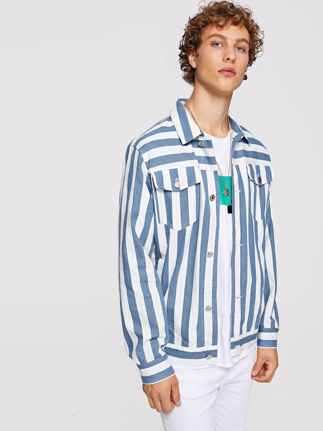 Купить Для мужчин полосатая ветровка на пуговицах с карманами, Kristian, SheIn
