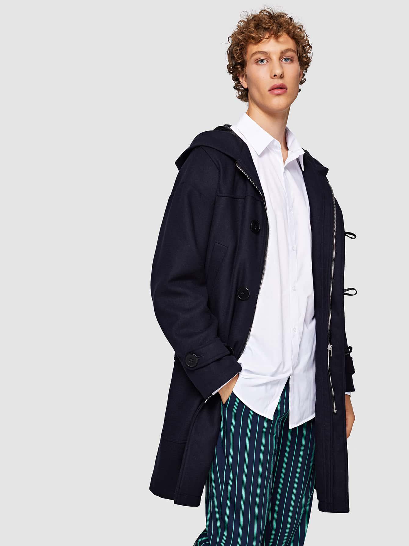 Купить Для мужчин длинное пальто на молнии, Kristian, SheIn