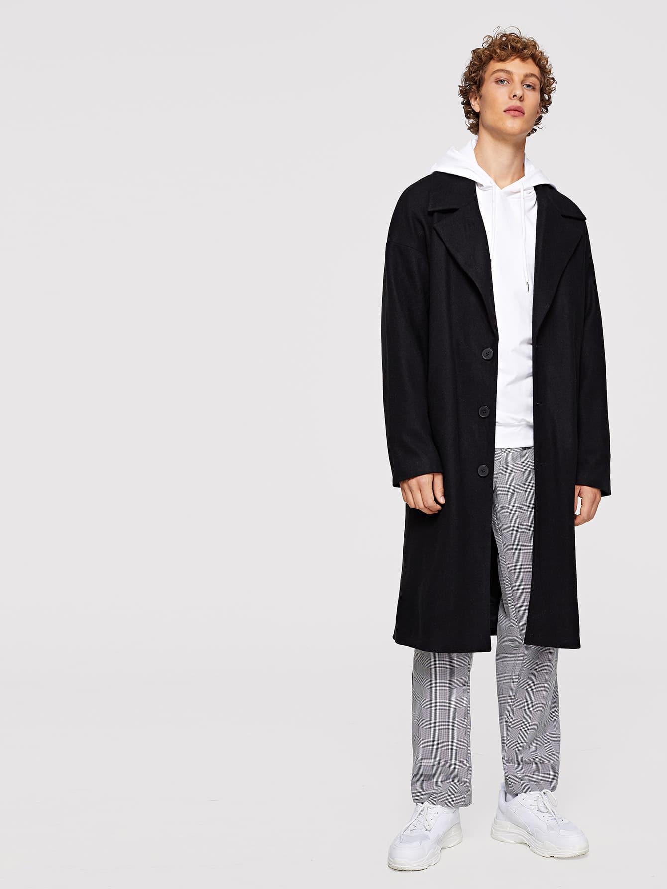 Купить Для мужчин длинное пальто на пуговицах с падениямиплеча, Kristian, SheIn