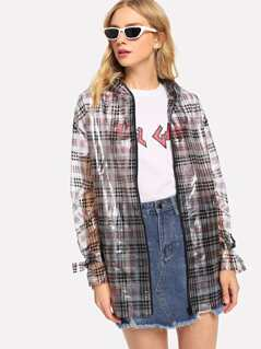 Bow Detail Plaid Transparent Hoodie Rain Coat