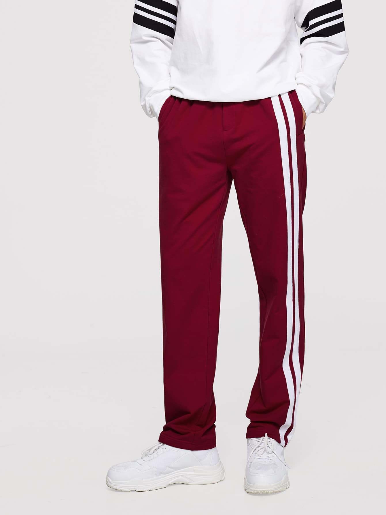 Men Contrast Striped Side Pants kids contrast striped star print pants