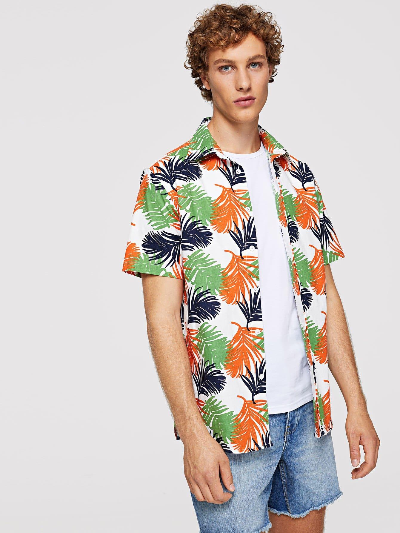 Men Allover Leaf Print Shirt все цены