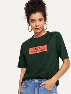 Letter Print Boxy Tee