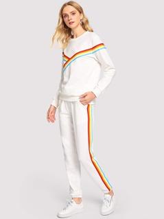 Contrast Rainbow Striped Top and Slant Pocket Pants Set