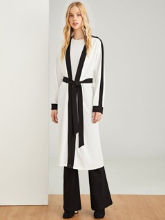 Waist Belted Striped Coat