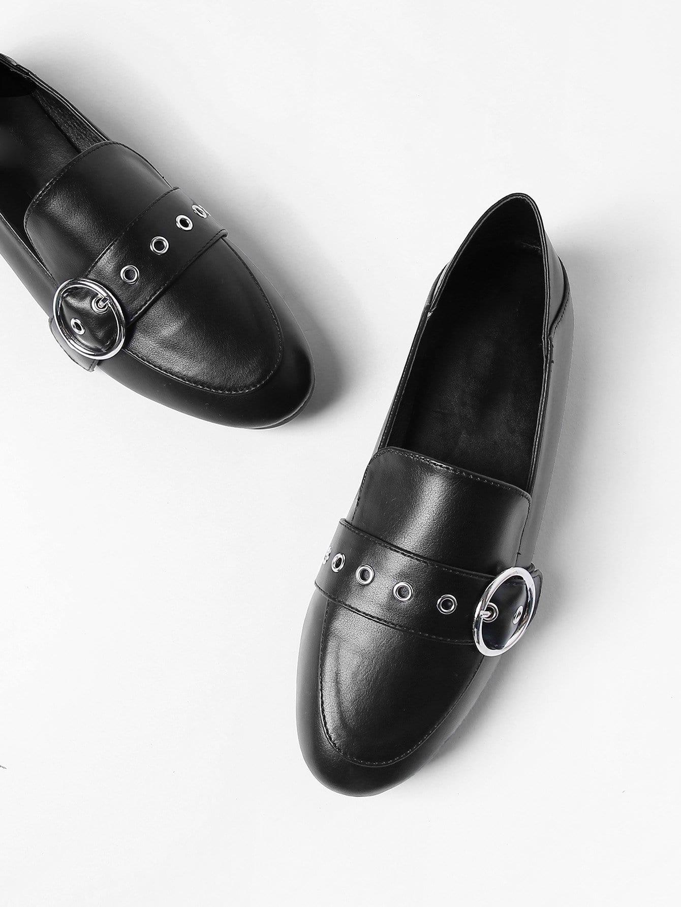 Купить Туфли на плоской подошве с украшением застёжки, null, SheIn