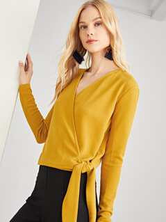 Knot Side Textured Wrap Blouse
