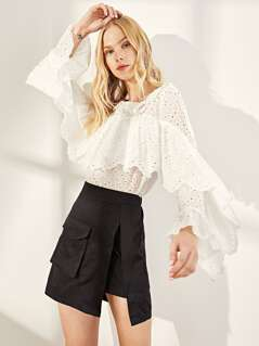 Flounce Trim Eyelet Embroidered Top
