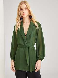 Notch Collar Belted Blouse