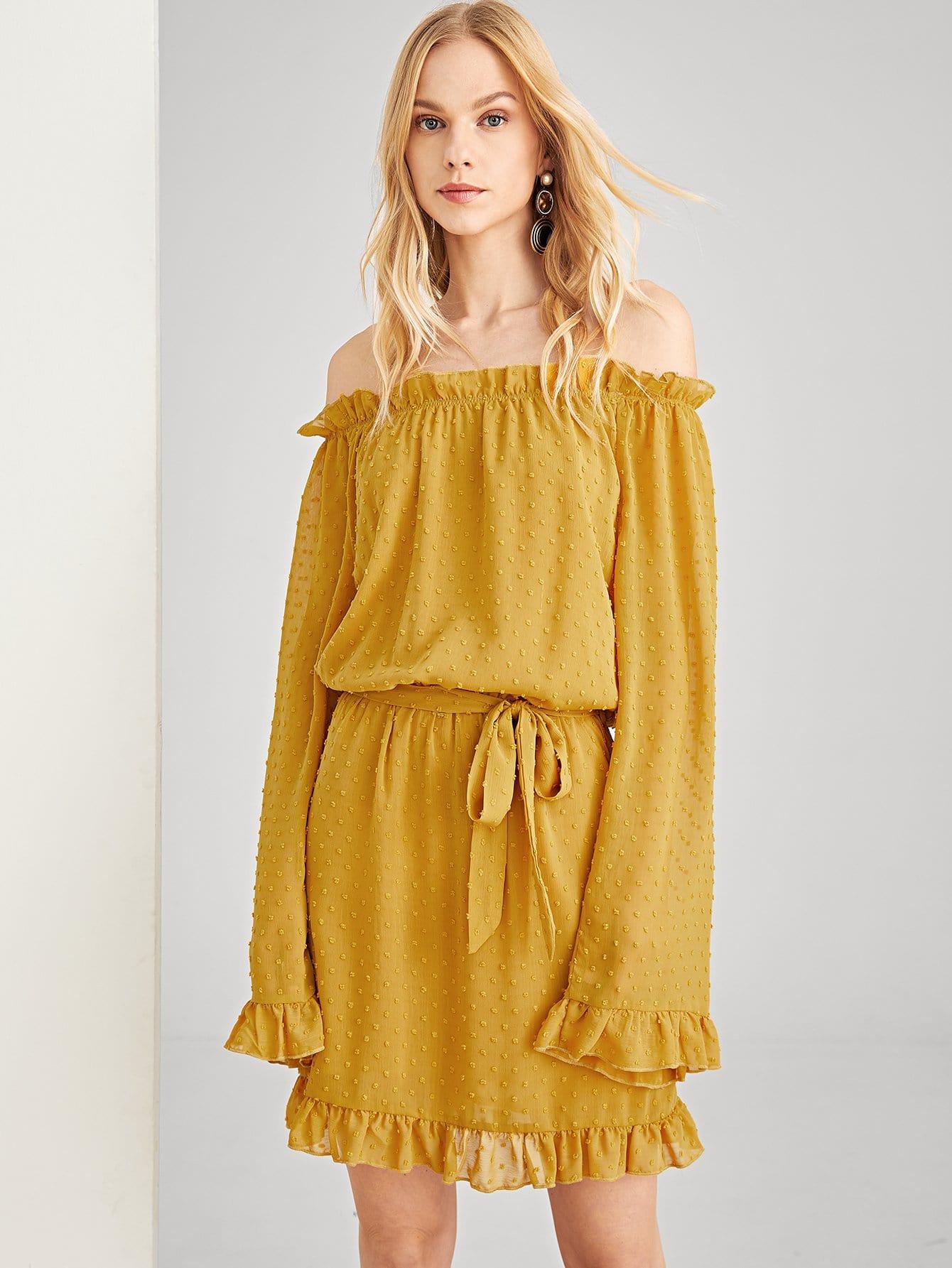 Купить Платье с рисунками точки и с кружевными оборками, Denisa, SheIn