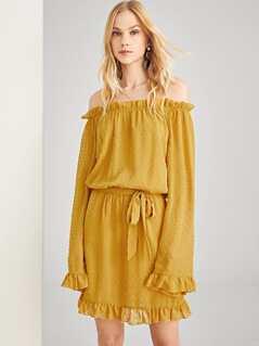 Dot Jacquard Frill Trim Dress