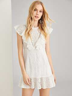 Flounce Embellished Eyelet Shell Dress