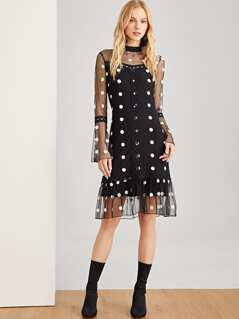 Trumpet Sleeve Dot Mesh Dress