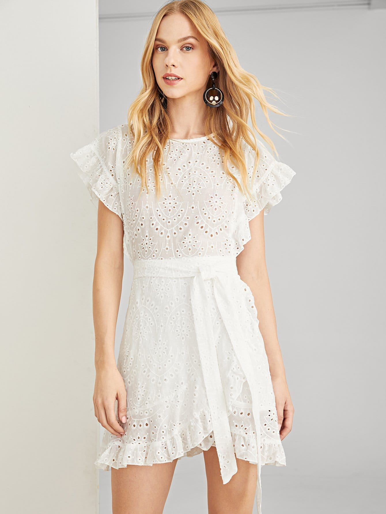 Ruffle Trim Eyelet Embroidered Belted Dress self belted solid ruffle trim dress