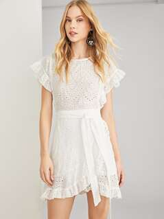 Ruffle Trim Eyelet Embroidered Belted Dress