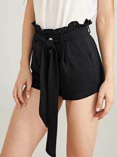 Rolled Hem Belted Shorts