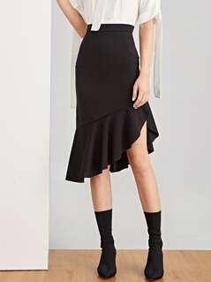 Asymmetric Ruffle Hem Skirt